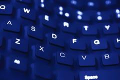 Fin bleue de clavier d'onde vers le haut Photo libre de droits
