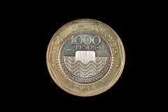Fin 1000 colombienne de pièce de monnaie de peso  Photographie stock