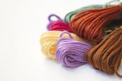 Fin colorée de soie de broderie de coton  Image libre de droits