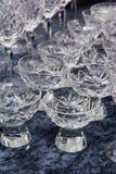 Fin Crystal Glasses Shining Felt Table produkt som dricker Gastron Royaltyfria Foton