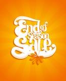Fin d'illustration typographique de vente de saison d'automne Photos stock