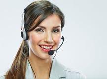 Fin d'opérateur de support à la clientèle vers le haut de portrait smili de centre d'appels Photos libres de droits