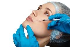 Fin de chirurgie de visage de femme de beauté vers le haut de portrait Images stock