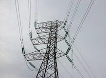 Fin de concept de l'électricité vers le haut de station à haute tension de lignes électriques images libres de droits