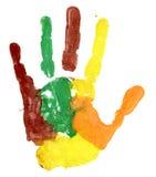 Fin de copie colorée de main sur le blanc Image stock