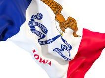Fin de drapeau d'état de l'Iowa  Drapeaux de gens du pays des Etats-Unis illustration libre de droits