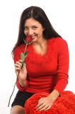 Fin de femme de Rose vers le haut Photographie stock libre de droits
