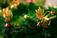 Fin de guirlande de Noël vers le haut de la photographie images libres de droits