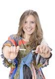 Fin de jeune femme du fumage Photo libre de droits