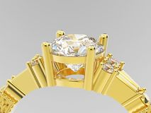 fin de l'illustration 3D vers le haut de diamon d'engagement de solitaire d'or jaune Photographie stock libre de droits