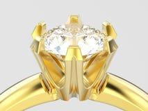 fin de l'illustration 3D vers le haut d'engag traditionnel de solitaire d'or jaune Images libres de droits