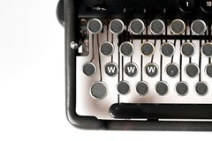 Fin de mot-clé de web design de rétro machine à écrire de style photos stock