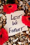 A fin de olvidemos - Anzac - la conmemoración imagen de archivo libre de regalías