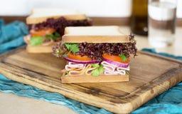 Fin de planche à découper servie par viande de dinde de sandwichs  Photo stock