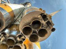Fin de quatre gicleurs. Fusée d'espace. Photo stock