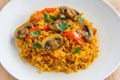 Fin de riz de champignon vers le haut de photo horizontale Images libres de droits