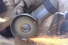 Fin de sawing en métal vers le haut Images libres de droits