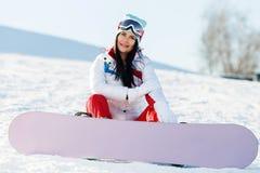 Fin de semana del atleta con la snowboard Fotografía de archivo libre de regalías