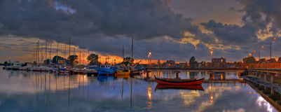 Fin de soirée de Yachtport Images stock