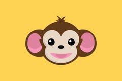 Fin de sourire de singe vers le haut de visage avec le fond jaune illustration libre de droits