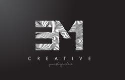 Fin de support E M Letter Logo avec des lignes vecteur de zèbre de conception de texture Image stock