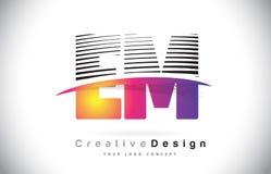 Fin de support E M Letter Logo Design With Creative Lines et Swosh dans Purpl Image stock