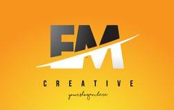 Fin de support E M Letter Modern Logo Design avec le fond jaune et le Swoo illustration de vecteur