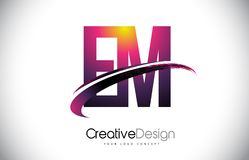 Fin de support E M Purple Letter Logo avec la conception de bruissement Magenta créatif M Illustration Stock