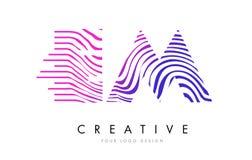 Fin de support E M Zebra Lines Letter Logo Design avec des couleurs magenta Image libre de droits