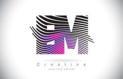 Fin de support E M Zebra Texture Letter Logo Design With Creative Lines et Image libre de droits