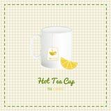 Fin de tasse de thé de vecteur avec des tranches de logo et de citron sur le fond à carreaux Photo libre de droits