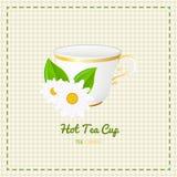 Fin de tasse de thé de vecteur avec la marguerite blanche sur le fond à carreaux Photo stock