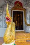 Fin de temple de Wat Chedi Luang Chiang Mai du dragon au Image stock