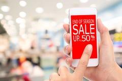 Fin de vente de saison jusqu'au consommateur Shopp de remise de promotion de 50 % Photos libres de droits