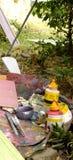 Fin des brosses et des couleurs du ` s d'artiste sur le copia extérieur Photo libre de droits