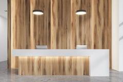 Fin en bois et blanche de lobby de bureau de réception  Image libre de droits