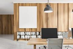 Fin en bois légère de lieu de travail de bureau, affiche illustration de vecteur