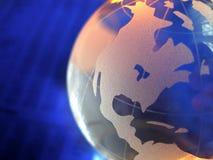 Fin en verre bleue de globe Photographie stock