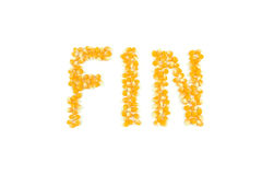 Fin End of Movie Title Card with Popcorn stock image