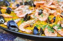 Fin espagnole de Paella vers le haut Images libres de droits