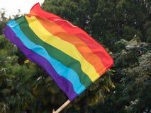 Fin gaie de fond du symbole LGBT de drapeau d'arc-en-ciel  Photographie stock libre de droits