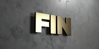 Fin - Gold sign mounted on glossy marble wall  - 3D rendered royalty free stock illustration Royalty Free Stock Images
