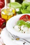 Fin italienne de mozzarella de tomate vers le haut Images stock