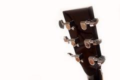 Fin jaune acoustique électrique de guitare d'isolement sur le blanc Photographie stock