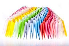 Fin modulaire d'origami d'arc-en-ciel lumineux vers le haut Photo stock