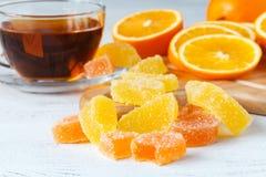 Fin orange de gelée de confiture d'oranges de fruit vers le haut de vue photos libres de droits