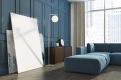 Fin panoramique bleue d'affiche de salon  Photographie stock libre de droits