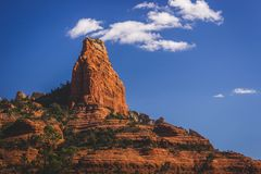 """The Fin Rock Formation. """"The Fin"""" rock formation standing prominently in the Red Rock Secret Mountain Wilderness viewed from the Brins Mesa hiking trail Stock Photos"""