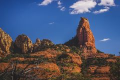 """The Fin Rock Formation. """"The Fin"""" rock formation standing prominently in the Red Rock Secret Mountain Wilderness viewed from the Brins Mesa hiking trail Royalty Free Stock Photography"""