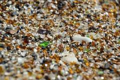 Fin - sable sur la plage en verre - Hanapepe, Kauai Photographie stock libre de droits